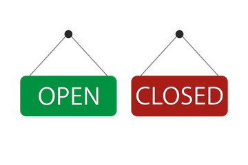 Open and closed signs. Vector design icon