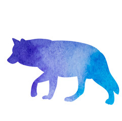 watercolor silhouette wolf
