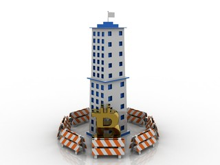 3d rendering bitcoin sign with big building