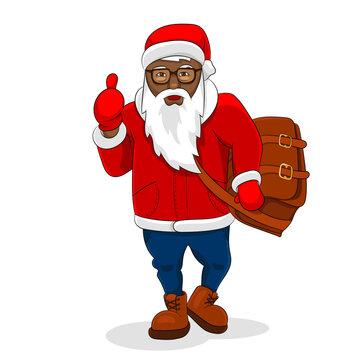 African black santa claus trendy clothes big bag show thumb up