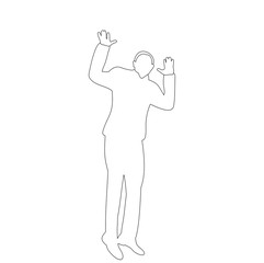 on white background sketch of man jumping