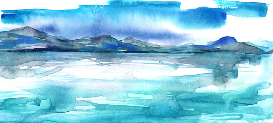 Watercolor mountain landscape, peak, forest silhouette, reflection in the river, blue moon, full moon.