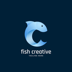 Fish Creative Abstract Vector Sign, Emblem or Logo Template. Silhouette in the Form of Letter C. Light Blue Clean Gradient Color.