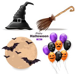 Halloween set moon, balloons, witch hat and broomstick Vector
