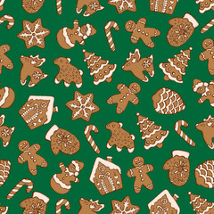 Seamless pattern of christmas homemade gingerbread cookies on green background. Christmas tree, snowflake, deer and snowman. Vector illustration for menu design, cafe decoration, delivery box.