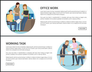 Office Work and Working Task on Promo Banners Set