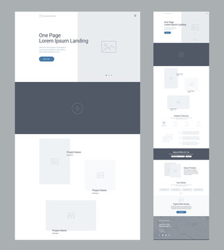 One page website design template for business. Landing page wireframe. Flat modern responsive design. Ux ui website: home, video, projects, features, offer, about product, clients, contact us, map.