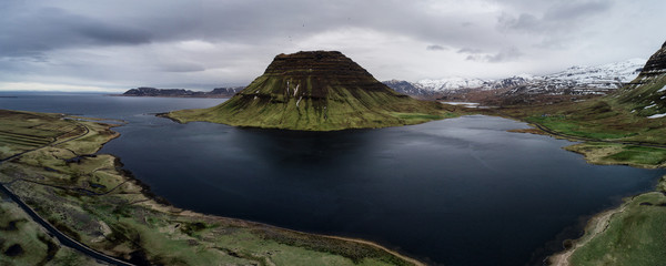 Kirkjufell mountain aerial view in iceland