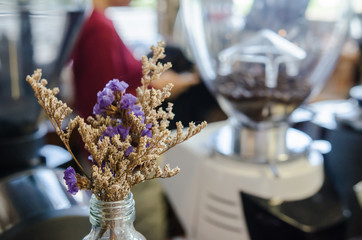 Dried flowers in a cafe