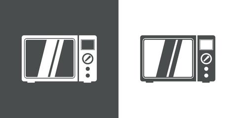 Icono plano microondas en gris y blanco