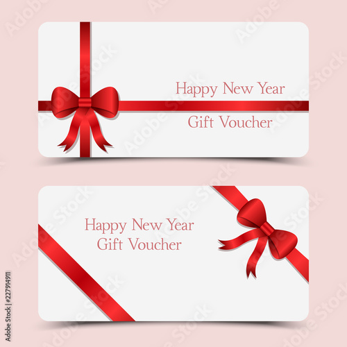 happy new year gift voucher with red bow and ribbon