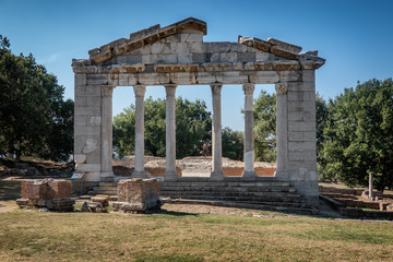 Temple and theater in the ancient city of Apollonia in Albania