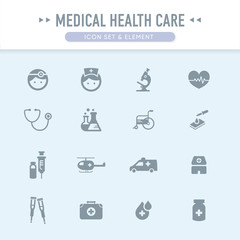 The medical health care icon set element set 1