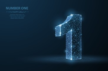 One. Abstract vector 3d number 1 illustration isolated on blue background. Celebration, success, winner, leader symbol.