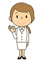 女性 OL 事務員 OKポーズ 立ち姿 白色の制服