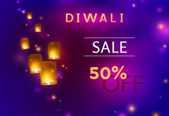 Diwali offer and flying china paper lamps, festival floating lanterns. 50 off discount sale poster on dark night sky background. Vector promo banner with indian lights.