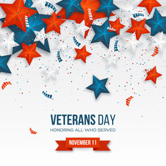 Veterans Day greeting card. 3d stars in national colors with serpentine and confetti. American holiday background. Vector illustration.
