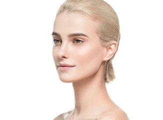 Natural makeup healthy skin and hair blonde woman beauty face portrait