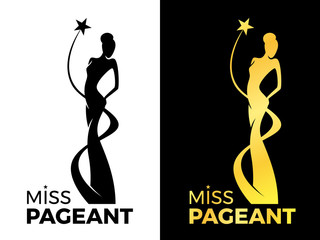 Miss lady pageant logo sign with queen wears evening gown and star around lady queen vector design
