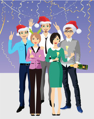 New Year's office party. Business people at a Christmas and New Year's corporate party. Vector illustration in cartoon style