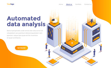 Flat color Modern Isometric Concept Illustration - Automated data analysis