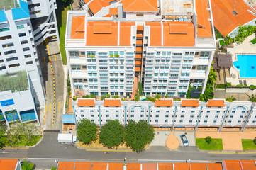 Aerial view Chinatown street Singapore