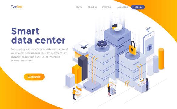 Flat color Modern Isometric Concept Illustration - Smart data center