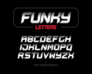 Silver Funky italic alphabet letters. Letters collection. Italic bold geometric alphabet, geometrical design. Sport game vector font template on black background.