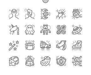 Fantasy Well-crafted Pixel Perfect Vector Thin Line Icons 30 2x Grid for Web Graphics and Apps. Simple Minimal Pictogram