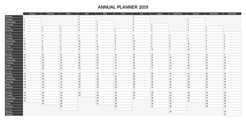 Year planning calendar for 2019 in English - Annual Planner 2019; Sundays are highlighted, greyscale monochrome variation (other languages and color variation in portfolio)