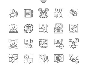 Interview Well-crafted Pixel Perfect Vector Thin Line Icons 30 2x Grid for Web Graphics and Apps. Simple Minimal Pictogram
