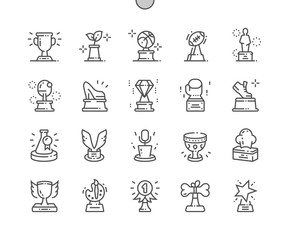 Award Collection Well-crafted Pixel Perfect Vector Thin Line Icons 30 2x Grid for Web Graphics and Apps. Simple Minimal Pictogram