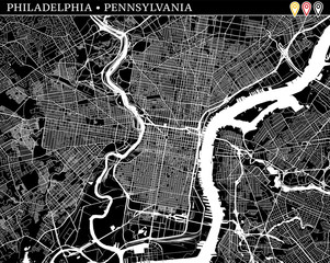 Simple map of Philadelphia, Pennsylvania