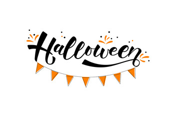 Halloween-hand drawn lettering. Holliday calligraphy for banner, poster, greeting card, party invitation. Vector illustration EPS 10.