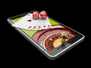 Online Internet casino app,poker cards with dice on the phone, gambling casino games. 3d illustration.