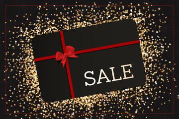 Black Friday Sale Geschenkkarte auf goldenen Sternen