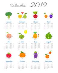 Cute annual calendar 2019