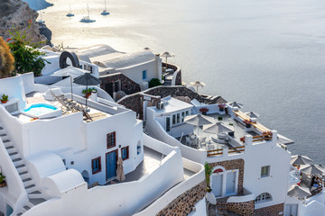 Santorini, Greece. Picturesque view of traditional cycladic Oia Santorini's houses on cliff