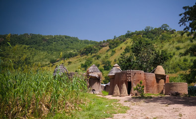 Traditional Tammari people village of Tamberma at Koutammakou, the Land of the Batammariba, Kara region, Togo