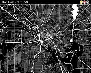 Simple map of Dallas, Texas