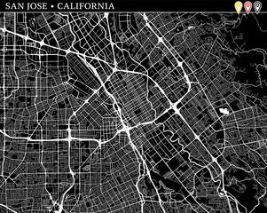 Simple map of San Jose, California