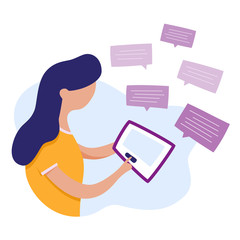 Chat messenger. A woman and tablet. Sending messages. Mailing of letters. Vector illustration in cartoon and flat style