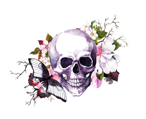 Human skull with flowers, butterfly. Watercolor for Halloween