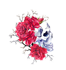Human skull in red rose flowers, branches. Watercolor