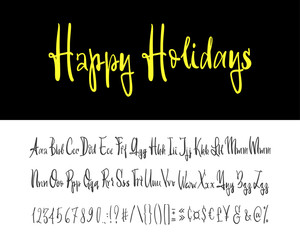 Happy holidays. Hand drawn typeface set isolated on white. Vector logo font. Typography alphabet for your designs: logo, typeface, card, wedding invitation.