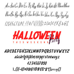 Happy Halloween Hand drawn typeface set isolated on white. Vector logo font. Typography alphabet for your designs: logo, typeface, card, wedding invitation.