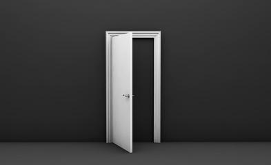 Open white door in a black empty room 3d render