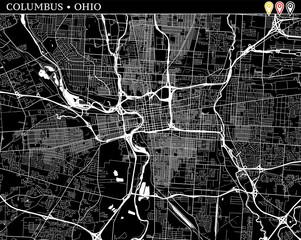 Simple map of Columbus, Ohio