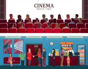 Cinema and Movie Time Colorful Vector Illustration