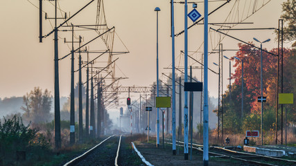 RAILWAY ROUTE - A small station in the autumn morning